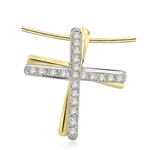 Two-tone Cross pendant with round stone in Gold Vermeil