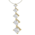 Gold vermeil 3.5 ct graduating princess cut stones pendant