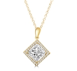 Diamond Essence Designer Pendant with 2.5 ct. Princess Cut Stone sorrounded by Round Stones in 14K Gold Vermeil.