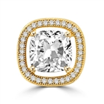 Diamond Essence Slide Pendant with 2.0ct. Cushion Cut Stone in center surrounded by round stones in 14K Gold Vermeil.