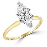 Gold vermeil Ring with marquise shape diamond