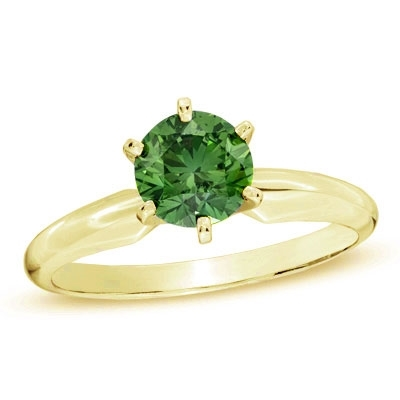 Diamond Essence Solitaire Ring With Emerald Round Brilliant stone, 2 Cts.T.W. In 14K Gold Vermeil.