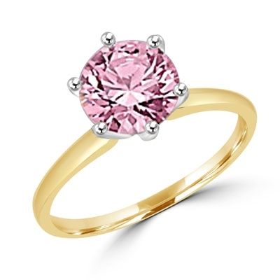 2.0 carat Pink Round Brilliant stone set in, 14k Gold Vermeil, a perfect solitaire ring.
