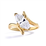 Solitaire Ring with artistically set Diamond Essence Marquise Joy in prong setting. 1.5 Cts. T.W. set in 14k Gold Vermeil.