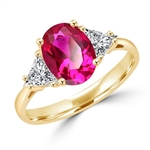 Stunning Ring, 2 Cts. T.W, with 1 Ct Oval Cut Ruby Center and White Trilliant Diamond Essence Stones on side, in Gold Vermeil.