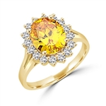 Light your Fire with this Cocktail Ring, 3.5 Cts T. W. with a 3 Cts. Oval Cut Diamond Essence Center and accents encircling the fireworks! In Gold Vermeil.