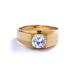 14K Gold Vermeil man's ring with 2.0 carat round brilliant stone.
