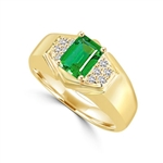 14K Gold Vermeil man's ring, 1.75 cts.t.w. with a 1.5 cts.t.w. Emerald Joy stone and accents.
