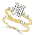 Ring – wedding set emerald cut marquise stone