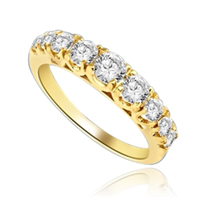 Designer Band with Beautifully set Graduating Round Diamond Essence. 1.10 Cts T.W. set in 14K Gold Vermeil.