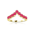 Stacking Rings-V-shaped Ruby rings in vermeil