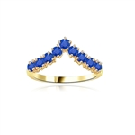 Stacking Rings-V-shaped Sapphire rings in white vermeil