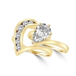 Almamiva and Rosina - Pear Shaped Center Enhances this Wedding Set. 1.75 Cts. T.W with round melee channel set down the wedding band, in Gold Vermeil. You will live happily everafter!