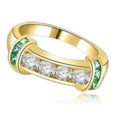 Brilliant channel-set Diamond Essence diamonds with a bar of Emerald  Essence on either side. 1.35 cts. T.W. set in 14K Gold Vermeil.