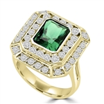 Diamond Essence Cocktail Ring With 2.50 Cts. Emerald Essence Radiant Emerald In Center Round Melee Around It, 4.50 Cts.T.W. In 14K Gold Vermeil.