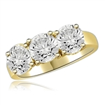 3.0 ct 3 stone ring featuring ring in gold vermeil