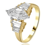 2ct. Marquise-cut Diamond Gold Vermeil ring