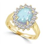 ring with 3ct oval cut opal and dancing melee