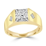 14K Gold Vermeil man's wide ring with a hefty channel-set 1.25 ct. Square cut masterpiece and twin satellites inlayed below in the wide gold band. 1.35 cts. t.w.