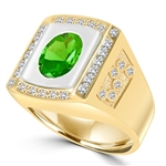 An impresive men's Ring in  two-toned 14K Gold Vermeil features a 4.0 cts. oval Emerald  stone set flush in a platform of white gold surrounded by melee, with double jolts of melee on each shank. 4.50 cts. t.w.