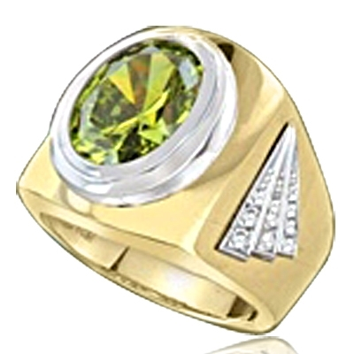 Man's classy wide bodied Ring, two-tone, with Oval cut center stone, set in 14K Gold Vermeil, 6.15 Cts.T.W.