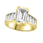 Escape with this Wide Band Ring with Channel Set Emerald Essence, 2.5 cts., separated by straight Diamond Bright Baguettes set vertically for a totally magnificent effect. 3.5 cts. T.W. set in 14K Gold Vermeil.