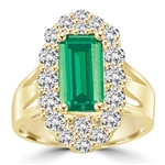 Emerald City Ring with a 3 Ct Emerald Cut Emerald Essence center surrounded by fiery Round Cut Diamond Essence Stones, 3.3 Cts.t.w. in Gold Vermeil.