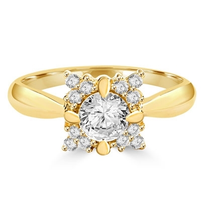 14K Gold Vermeil designer ring of round stones