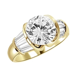 Majestic Ring - You will fall in love at first sight for this Materpiece with a heavy set 3 cts. Round Brilliant Center encircled by baguette accents on the band! 5 Ct. t.w.In Gold Vermeil.