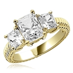 2.5cts. Elegantly styled 3 stone princess ring in Gold Vermeil