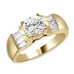 Classic ring with 1 carat Diamond Essence round brilliant with baguettes on each side. 2.5 cts.t.w. in Gold Vermeil.