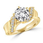 Intertwined Love! Brilliant 2 Ct Center in perfect harmony with twirling band of Round Stones. 2. 5 Cts. T.w. In 14k Gold Vermeil.