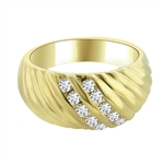 Diamond Essence Ring with Channel Set Round Brilliant Stones in 14K Gold Vermeil , 0.30 Ct. T.W.