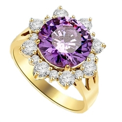 Designer Ring with Round Amethyst Essence in center surrounded by Round Brilliant Diamond Essence and Melee. 4.5 Cts. T.W. set in 14K Gold Vermeil.