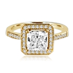 Princess cut Diamond Essence centerpiece,surrounded by Round Brilliant Melee in this pretty Engagement Ring. 2.0 Cts. T.W. set in 14K Gold Vermeil.
