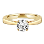 Tiffany Set Solitaire on Wide Band. 0.75 Cts.T.W. set in 14K Gold Vermeil.