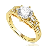 Mesmerizing 2.0 Ct Brilliant stone is adorned by superbly crafted Baguettes and Round Melee forming 2.50 Cts. T.W. In 14k Gold Vermeil.