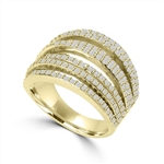 Diamond Essence Ring With Seven Rows of Melee, 1.50 Cts.T.W. In 14K Gold Vermeil.