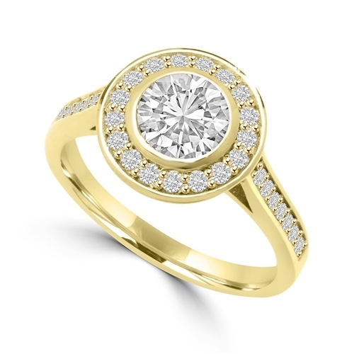 Diamond Essence Bezal set Ring with 1 Ct. Round Brilliant And Surrounding Melee, 1.25 Cts. T.W. In 14K Gold Vermeil.