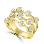 Diamond Essence Round Brilliant Ring with  0.20 Ct. Each Set In Bezel Set Designer Bars, 2.20 Cts.T.W. In 14K Gold Vermeil.