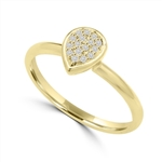 Diamond Essence Delicate Ring With Brilliant Melee in Pear Shape Setting, 0.10 Ct.T.W. In 14K Gold Vermeil.