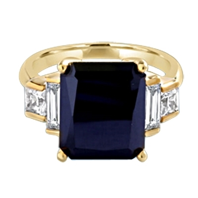 Onyx Ring - 6.0 Cts. Radiant Emerald cut Onyx Essence set in four prongs, accompanied by channel set Diamond Essence Baguettes and Princess cut stones on either side. 7.0 Cts.T.W. set in 14K Gold Vermeil.