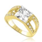 2 CT Princess Cut Ring with Wide Split Band. In 14k Gold Vermeil.