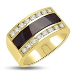 Men's Black Onyx Ring set with 16 Brilliant 2 Pointers adjacent to a Supreme 19mm x 4.5mm Black Onyx Diamond Essence Stone. Appx. 5 Cts. T.W. set in 14K Gold Vermeil.