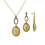 Diamond Essence Beige Amazonite Earring & Pendant in Vermeil - VSET328BA