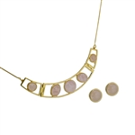 Diamond Essence Rose Quartz Earring & Choker necklace in Vermeil- VSET622RQ