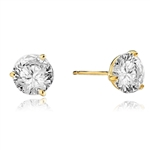 Pair of Studs in three prongs Martini Setting, Round Diamond Essence in each stud. 4.0 Cts T.W. set in 14K Gold Vermeil.