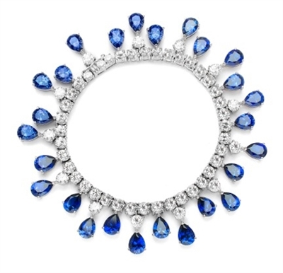 "Diamond Essence dazzling Bracelet, 7.25"" long. 1.0 Ct. each Sapphire Essence Stone dangling from Round Brilliant Diamond Essence stone. Appx. 50.0 Cts. T.W. in 14K Solid White Gold."