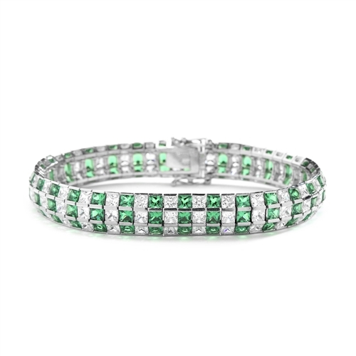 "7"" long Lovely best selling bracelet with 23.25 cts.t.w. of Princess cut Emerald Essence and Princess cut Diamond Essence stones in 14K White Gold."