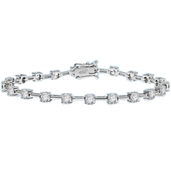 Charming bracelet to enhance your wrist play! 0.25 cts. Round Diamond Essence stones set apart with solid chain links. 3.0 Cts. T.W. set in 14K Solid White Gold.